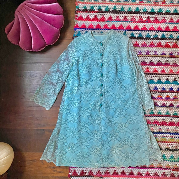 60s Blue Lace Babydoll Dress / Tent Dress / Mini D