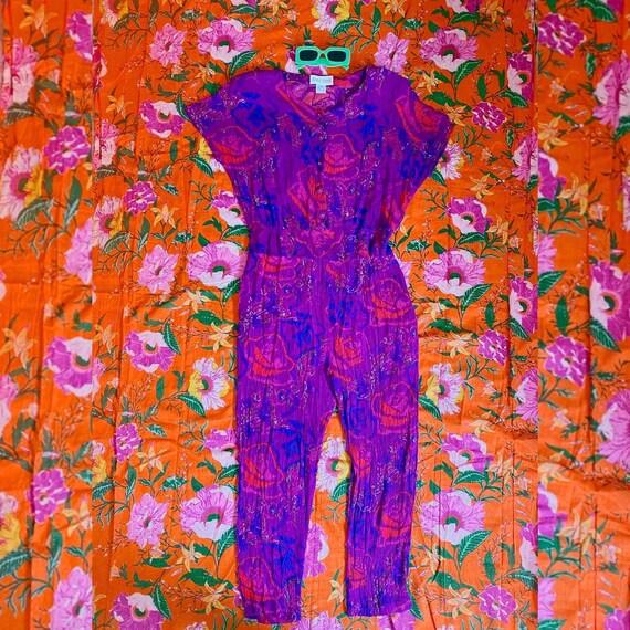 80s 90s Pixilated Rose Print Taper Leg Jumpsuit