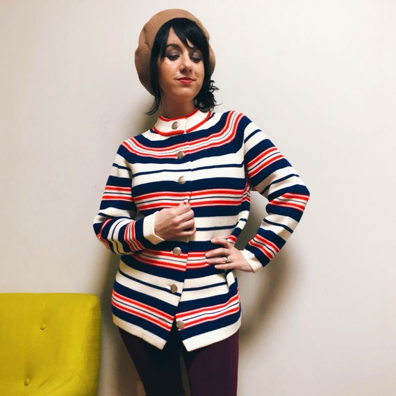 Vintage Mod Striped Cardigan Sweater // Red, White