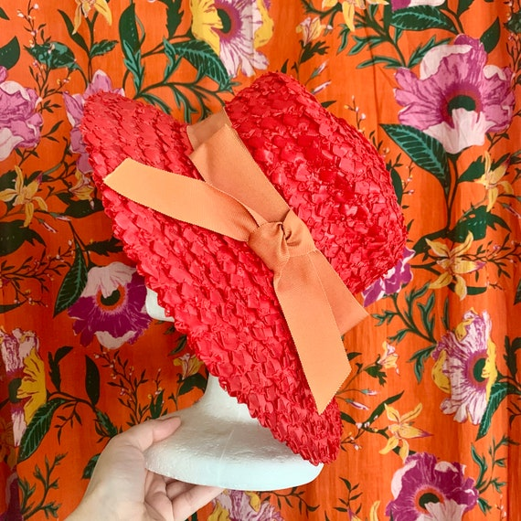 60s Red Large Floppy Hat / Straw Sun Hat with Bow