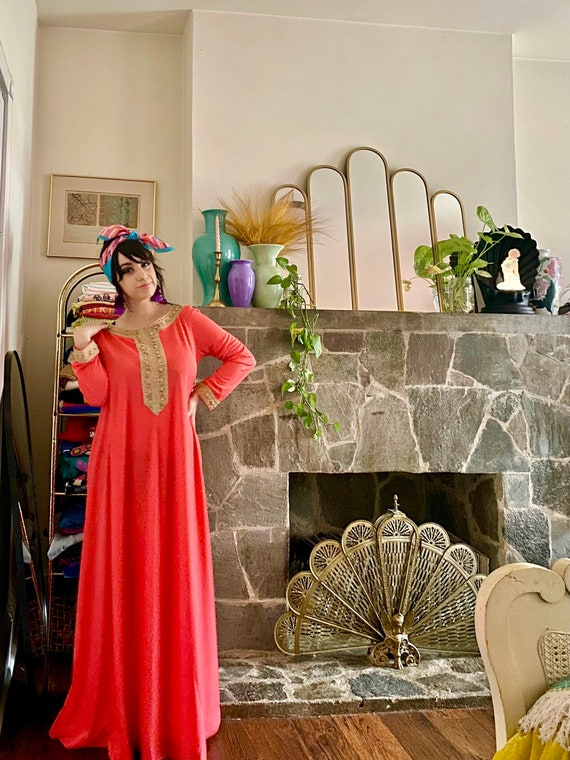60s Lucie Ann Beverly Hills Coral Kaftan Maxi Dre… - image 2