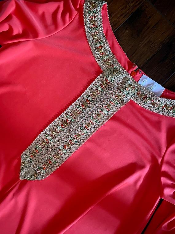 60s Lucie Ann Beverly Hills Coral Kaftan Maxi Dre… - image 4