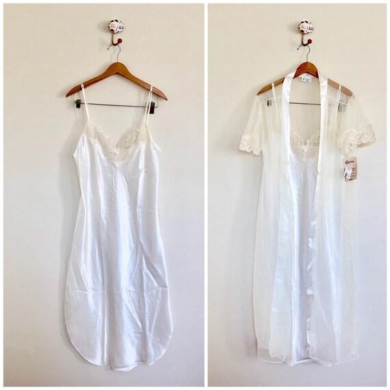80s Deadstock Slip Dress Nightgown & Sheer Robe Se