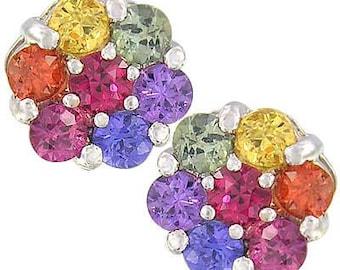 Multicolor Rainbow Sapphire /& Diamond Round Pendant 925 Sterling Silver 938-925 SKU 1.57ct tw