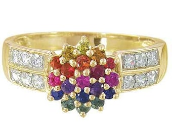 Multicolor Rainbow Sapphire & Diamond Classic Womens Ring 14K Yellow Gold : sku 1592-14K-YG