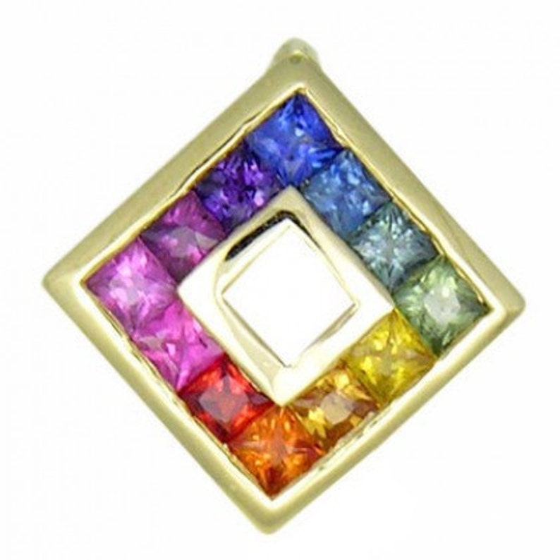 436-14K-Yg Multicolor Rainbow Sapphire Small Square Pendant 14K Yellow Gold SKU 34ct tw
