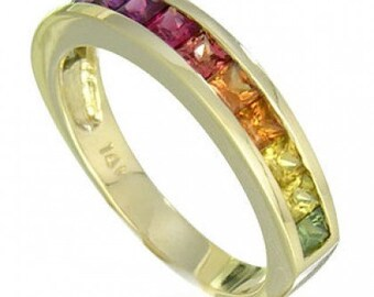 Multicolor Rainbow Sapphire Half Eternity Band Ring 18K Yellow Gold (2ct tw) SKU: 663-18K-Yg