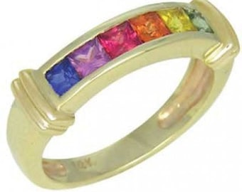 Multicolor Rainbow Sapphire Band Ring 18K Yellow Gold (1ct tw) SKU: 312-18K-Yg