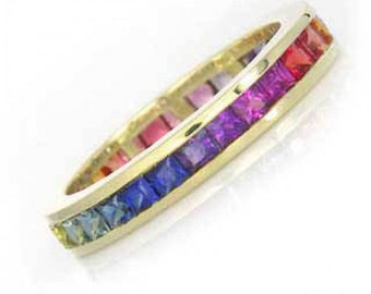 Multicolor Rainbow Sapphire Eternity Ring 18K Yellow Gold (5ct tw) SKU: R2043-895-18K-Yg