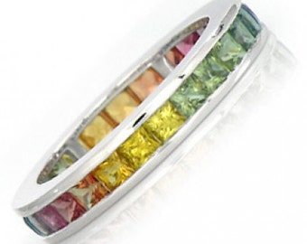 Multicolor Rainbow Sapphire Eternity Band Ring 18k White Gold (5ct tw) : sku R2043-18k-wg