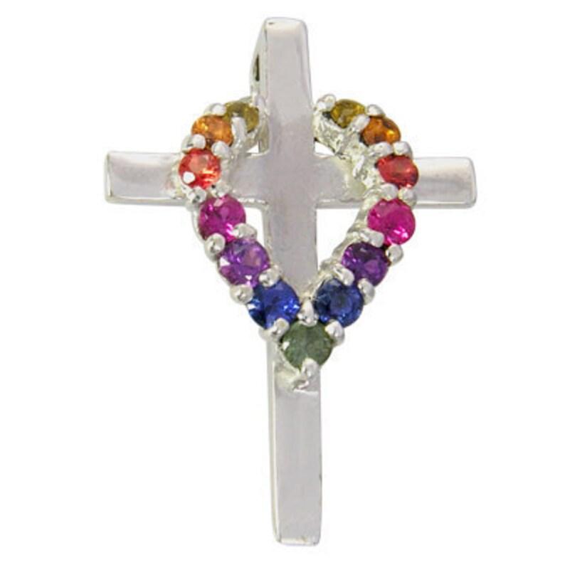 574643f028 Multicolor Rainbow Sapphire Heart on Cross Pendant 14K White | Etsy