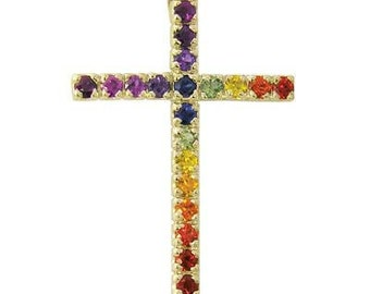 Multicolor Rainbow Sapphire Religious Crucifix Pendant 14K Yellow Gold (3ct tw) SKU: 1525-14K-Yg