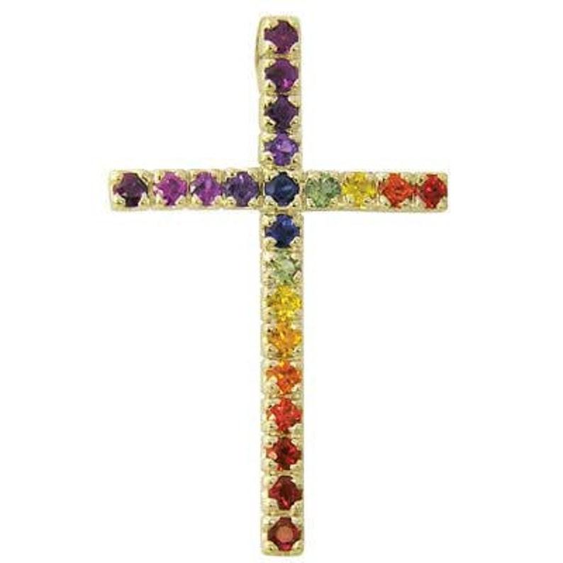 b1f084f70f Multicolor Rainbow sapphire Cross necklace women 14K Yellow | Etsy