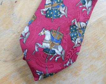 Horse Men/'s Tie Equestrian Tie Rare Collectible Beautiful Condition Stirrup Horse Omar Sharif Paris Silk Necktie Olive Horse Fashion