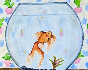 Goldfish love oil painting by Bannerandsail