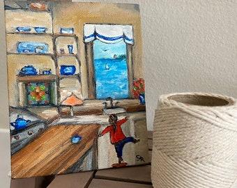 Mama's kitchen Folk art mini oil painting shelf art