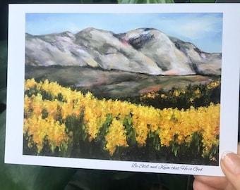 Mountains yellow wildflowers print art Be still