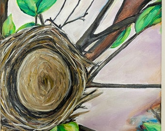 Bless this nest wall decor painting wrapped canvas