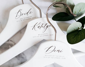 PERSONALISED WEDDING HANGERS COAT HANGER BRIDAL PARTY GIFTS NATURAL WH4