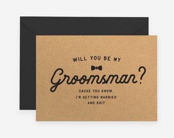 Will You Be My Groomsman Best Man Groomsmen Kraft Rustic Wedding Funny Shit Swear Bow Tie Officiant Usher MC