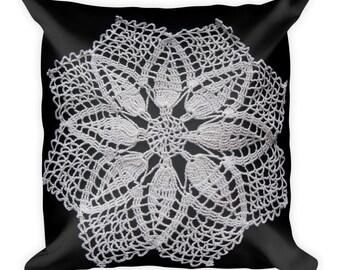 Doily Ornamental Lace Pattern Square Pillow Throw Pillow Cushion Decor