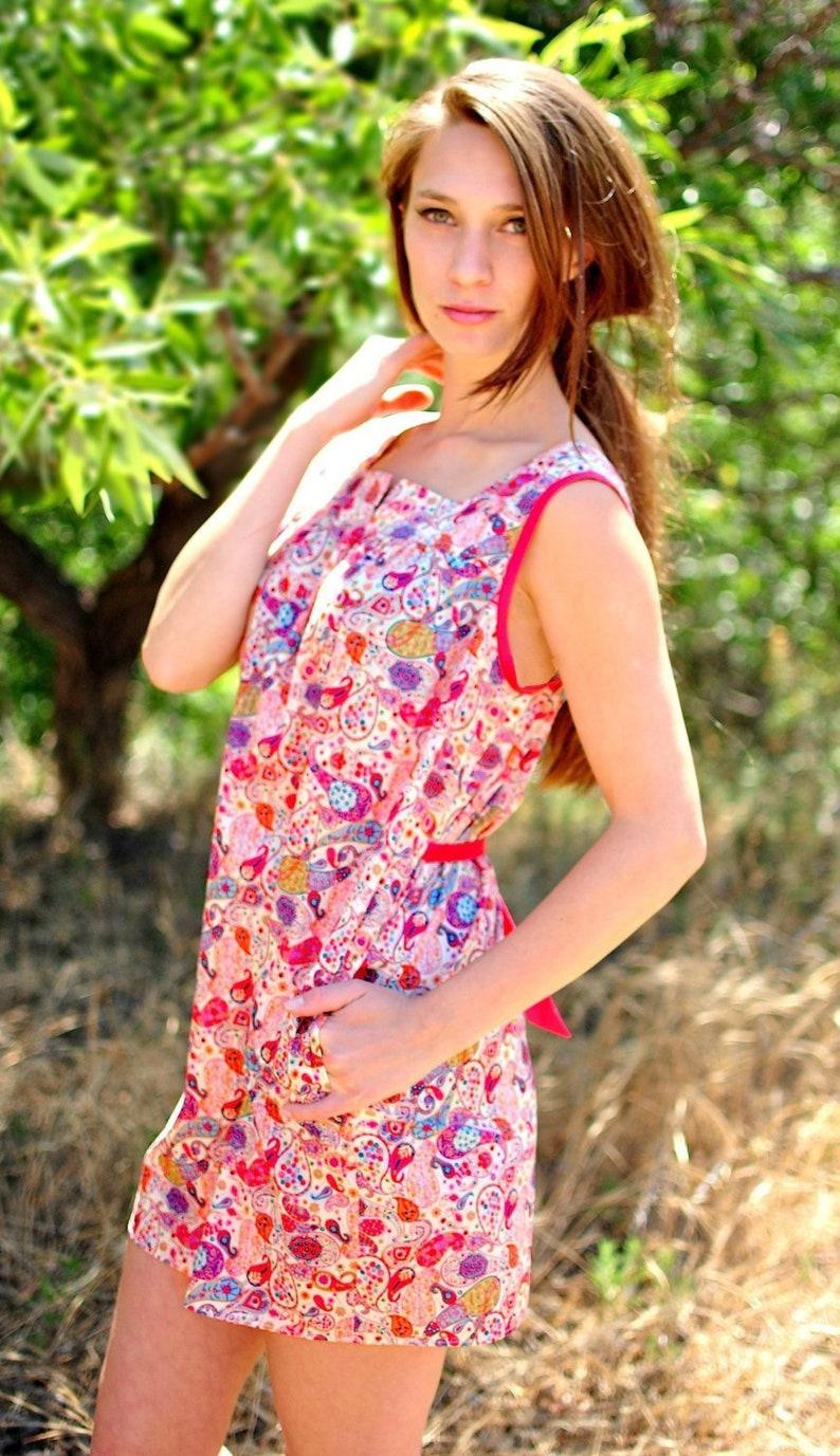 c701096009 Sleeveless Shift Dress Paisley Dress Dress with Pockets