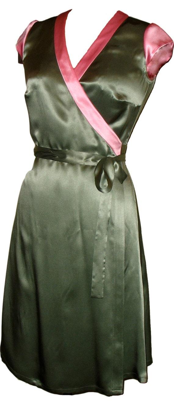 Silk Wrap Dress, Light Green Dress, Green Wrap Dress, Pink and Green Dress, Green Party Dress, Cap Sleeve Dress, Silk Dress, Midi Wrap Dress
