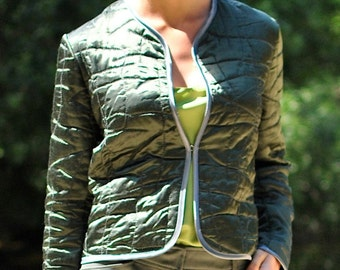 Womens Quilted Jacket, Satin Jacket, Quilted Jacket, Green Jacket, Green Satin Jacket, Evening Jackets, Embroidered, Evening Jacket, ToOrder