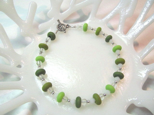 Bracelet, green lampwork beads with crystals and glass beads, beads by 3 Angels