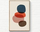 Abstract Circles Navy Burnt Orange Blush, Mid Century Scandinavian Print, Instant Download Art