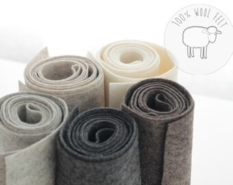 "Pure wool felt bundle, heathered wool felt, wool felt by metre,   20cm by 91cm (9"" x 36""), 1 - 1,5mm, natural  wool felt- Ships from Ireland"