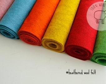Heathered wool felt, bright pure wool felt bundle, 100% wool felt, choose sheets or by the yardiofelt and coloured