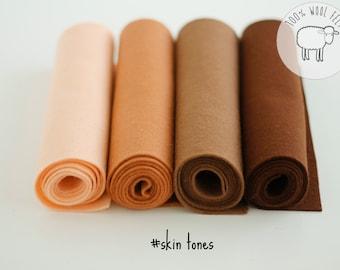 Wool felt sheets bundle skin tones, wool felt roll, skin tone wool felt bundle, choose the size of the sheets/rolls , Ships from Ireland