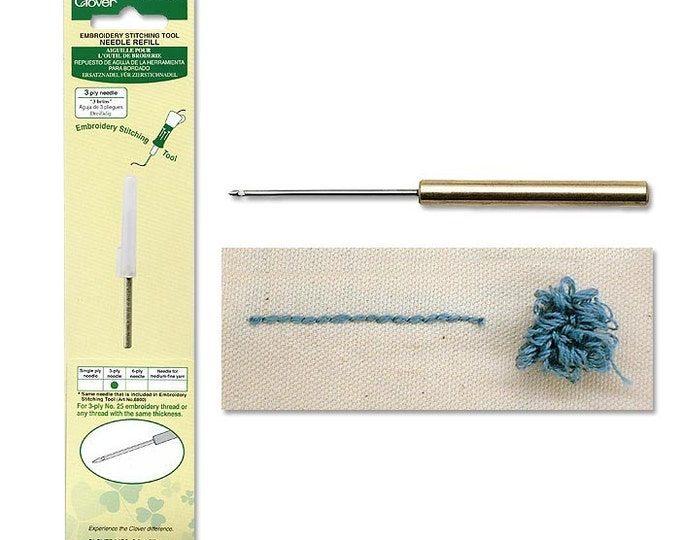 Needle refill Embroidery tool by Clover - 3 ply and 6 plys needle - made in Japan - ships from Ireland