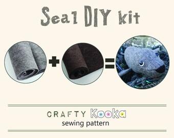 Seal toy DIY kit - pure wool felt kit to make your own seal toy  - pure wool felt kit DIY seal