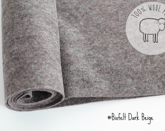 """Pure wool felt fabric roll,  dark beige 20cm x 91cm - 1 - 1.5mm - 1 yard long by 9""""  natural colour, Ships from Ireland"""