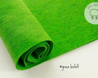 Green wool felt, 100% wool felt, felt by the yard, gorgeous wool felt made from biofelt and coloured