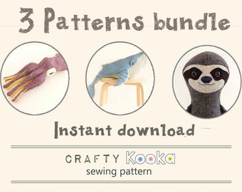 Toy sewing pattern, soft toy patterns bundle of 3 step-by-step sewing tutorials, Whale pattern, Sloth pattern, Squid pdf pattern