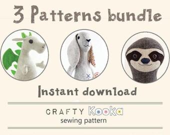 Felt animal patterns bundle, step-by-step sewing tutorials, dragon pattern, bunny rabbit pattern, sloth pdf pattern