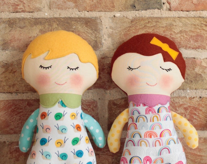 Rag Doll sewing pattern, stuffed toy pattern, button baby and her companion Robin, sew your own rag Doll, instant download pdf pattern