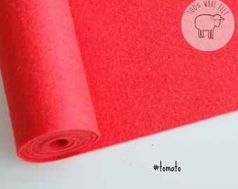 """Pure wool felt 1mm thick in tomato red, wool felt sheets, choose size,  9"""" x 12"""" -  9"""" x 36"""" - Ships from Ireland"""