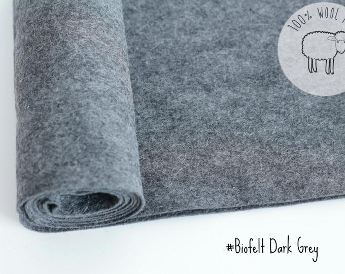 """Heather felt in dark grey, pure wool felt, 20cm by 91cm (9"""" x 36""""), 1 - 1,5mm, biofelt natural dark grey colour - Ships from Ireland"""