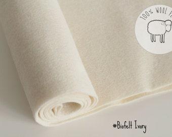 "Pure wool felt, ivory/ecru/off white 100% wool felt band 20cm by 91cm (9"" x 36""), 1 - 1,5mm - Ships from Ireland"
