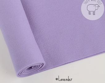 "Pure wool felt sheets in Lavender, light lilac felt, 100% wool felt, choose size,  20cm x 30cm or 20cm by 91cm (9"" x 36"") ships from Ireland"