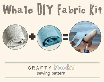 Whale stuffed toy DIY fabric kit - whale sewing pattern and materials - pure wool felt to make humpback whale soft toy