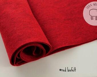 speckled wool felt, biofelt ,  red color wool felt roll, felt by the yard, gorgeous wool felt made from biofelt and coloured