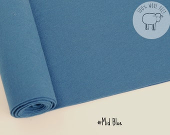 """Wool felt sheet in Mid blue, pure wool felt 1mm thick, choose the size  20x30cm sheet or  20cm by 91cm (9"""" x 36"""") roll"""