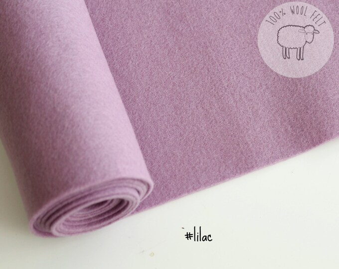 "Pure wool felt in Lilac, wool felt in delicate lilac, 100% wool felt band 20cm by 91cm (9"" x 36""), 1 - 1,2mm - Ships from Ireland"