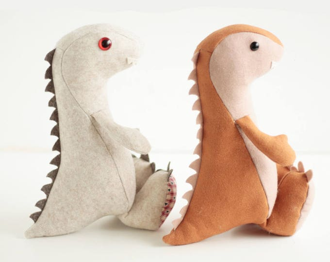 Dinosaur sewing pattern pdf pattern, step-by-step  tutorial for instant download showing how to make this baby dinosaur