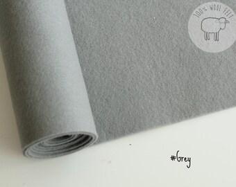 "Pure wool felt in grey, 100% wool felt in gorgeous gray 20cm by 91cm (9"" x 36""), 1 - 1,2mm - Ships from Ireland"